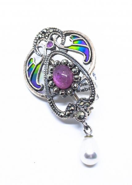 Brosa Art Nouveau Spinel si Perla 0