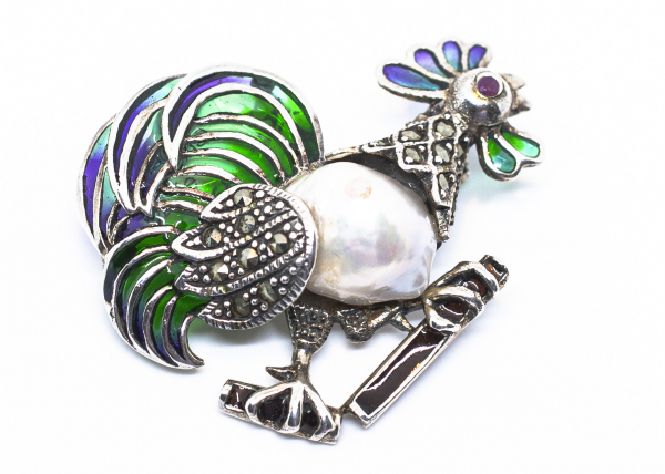 Brosa din Argint Cocos cu Email, Marcasite si Perla Baroque [0]