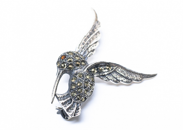 Brosa din Argint  Colibri cu  Marcasite 0