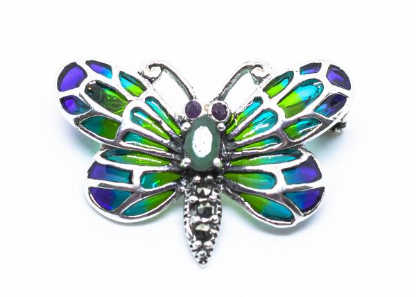 Brosa din Argint  Fluture cu Smarald si Email 0