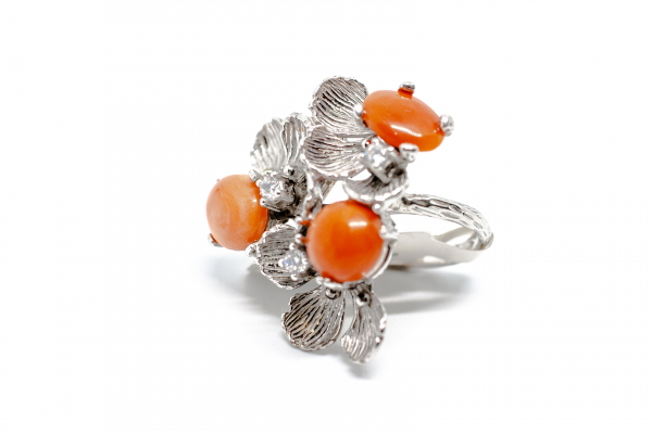Inel din Argint  Reglabil cu Floare Coral si Zirconiu 0