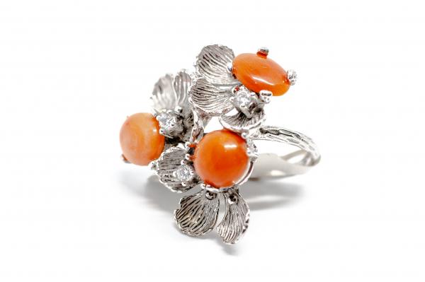 Inel din Argint  Reglabil cu Floare Coral si Zirconiu 1