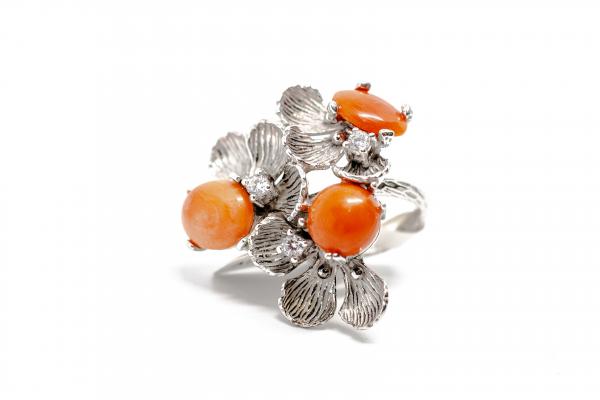 Inel din Argint  Reglabil cu Floare Coral si Zirconiu 2