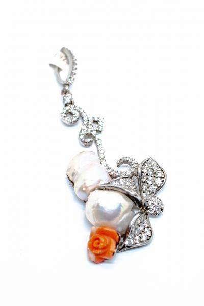Pandantiv Perla Baroc si Floare Coral 0