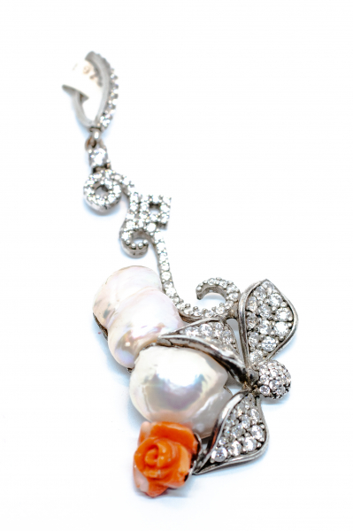 Pandantiv Perla Baroc si Floare Coral 1