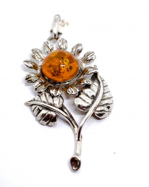 Pandantiv din Argint Floarea Soarelui cu Chihlimbar 0