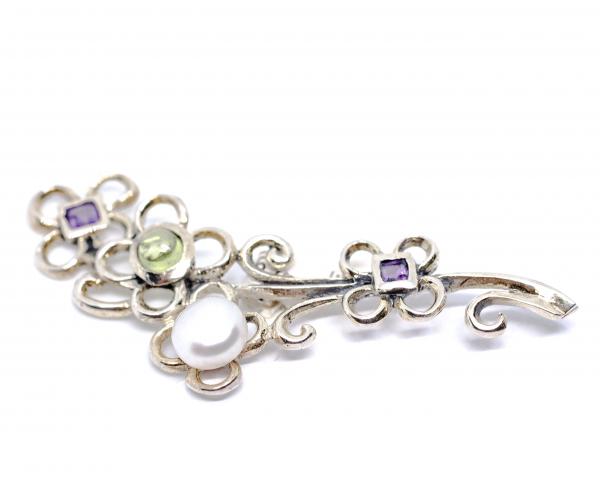 Pandantiv din Argint cu Perlă Bali, Peridot și Ametist [0]
