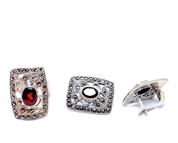 Set Inel si Cercei din Argint cu Granat si Marcasite 1