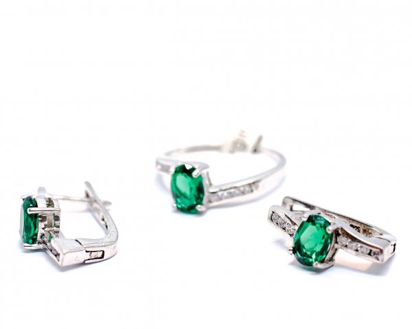 Set Inel si Cercei din Argint cu Zirconiu Verde 1