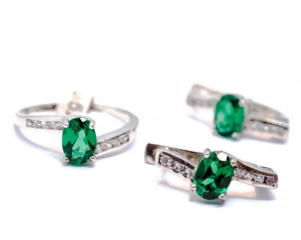 Set Inel si Cercei din Argint cu Zirconiu Verde 0