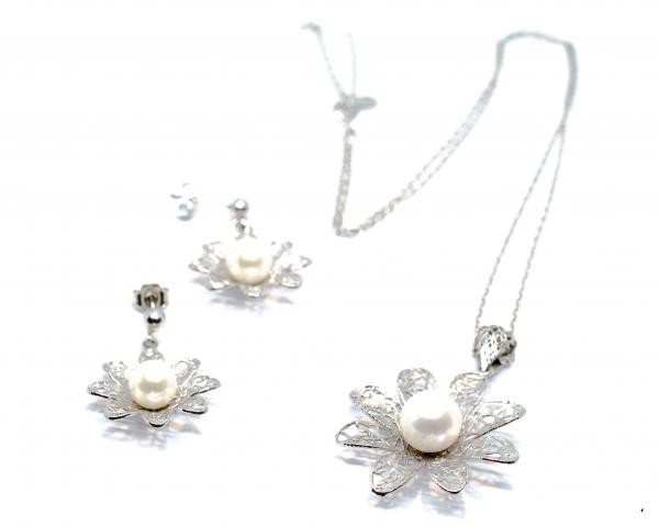 Set din Argint Floare cu Perla 0