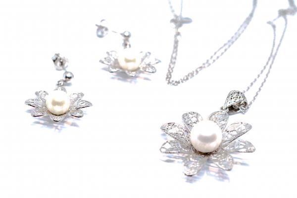 Set din Argint Floare cu Perla 1