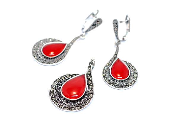 Set Coral si Marcasite 1