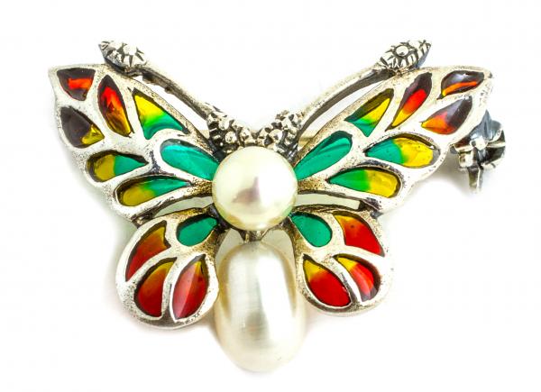 Brosa din Argint Fluture cu Email, Marcasite si Perle de Cultura 0