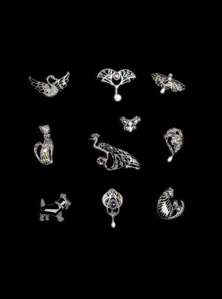 Brosa din Argint Fluture cu Email, Marcasite si Perle de Cultura 1