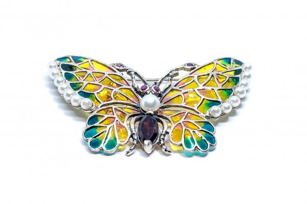 Broșă Fluture Email,Perla,Ametist,Rubin 1