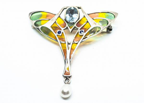 Brosa Art Nouveau Topaz fatetat, Perla de Cultura si Safir 0