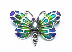 Brosa Fluture cu Email, Marcasite, Ametist si Rubin din Argint [1]