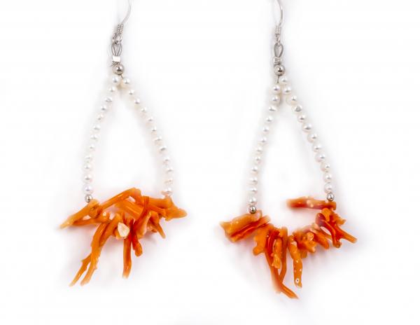 Cercei Creatie din Perle de Cultură și Coral Roz cu Argint 0