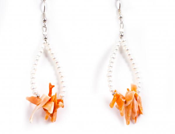 Cercei Creatie din Perle de Cultură și Coral Roz cu Argint 1
