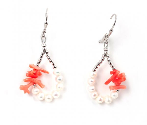 Cercei Perle de Cultură și Coral Roz 0