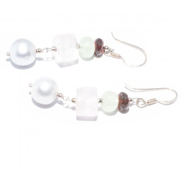 Cercei Creație Din Argint cu Granat, Prehnit, Cuarț Roz si Perlă 1
