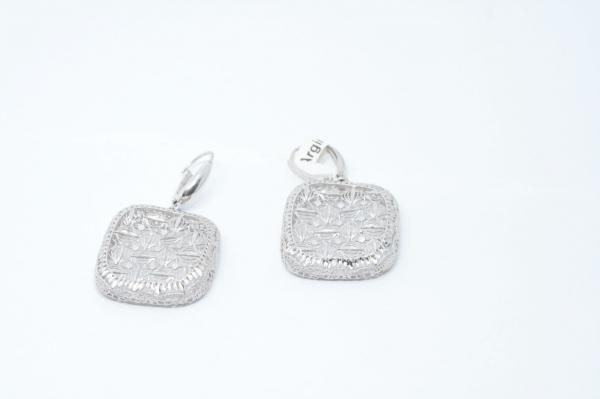 Cercei din Argint cu Tortita  Lucrati Manual cu Mici Zirconii 1