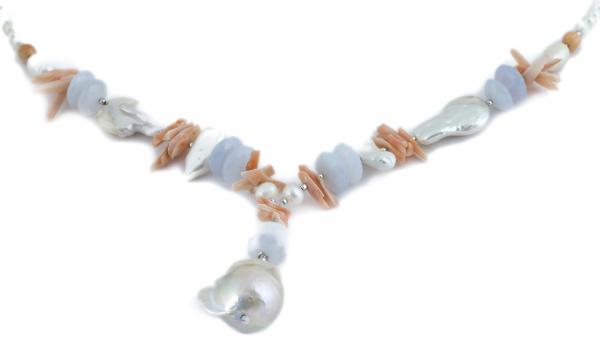 Colier Creaţie din  Perlă Baroc, Coral, Calcedonie cu Argint 1