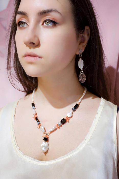 Colier Creaţie  din  Perlă Baroc, Agat, Onix, Coral cu Argint [3]