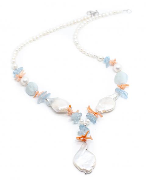 Colier Creatie Perla,Coral,Acvamarin 1