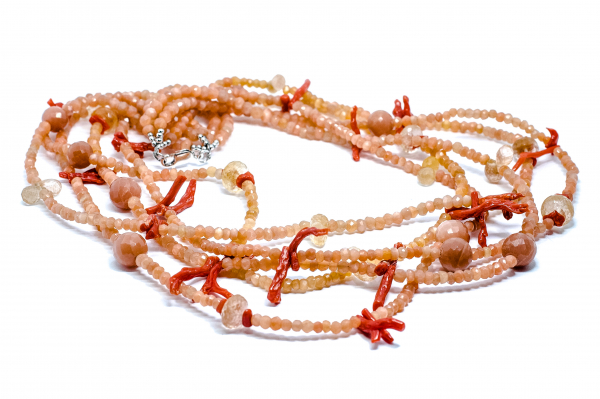 Colier Creatie cu Coral,Citrin si Argint 1