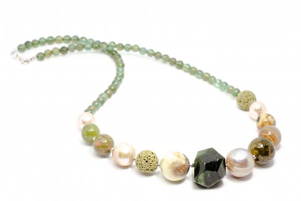 Colier Creatie din Argint cu Coral,Perla de Cultura,Prehnit,Agat de Boswana si Variscit 2