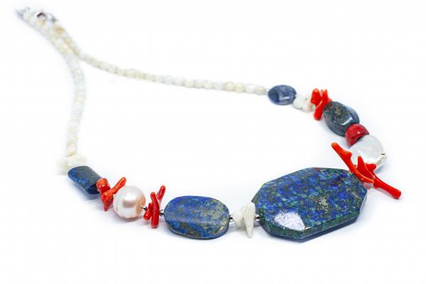Colier Creatie Lapis lazuli, Perla si Coral Crengute 0