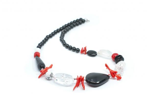 Colier Creatie cu  Onix, Coral, Perla si Argint 0