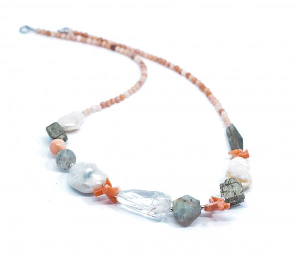 Colier Creatie Perle, Coral, Labradorit, Pirita [1]
