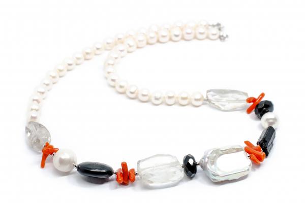 Colier Creatie Perle, Cuart, Coral si Argint [0]