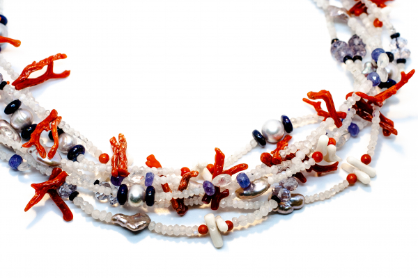 Colier Unicat din Coral, Piatra Lunii, Perla, Lapis Lazuli si Tanzanit 1