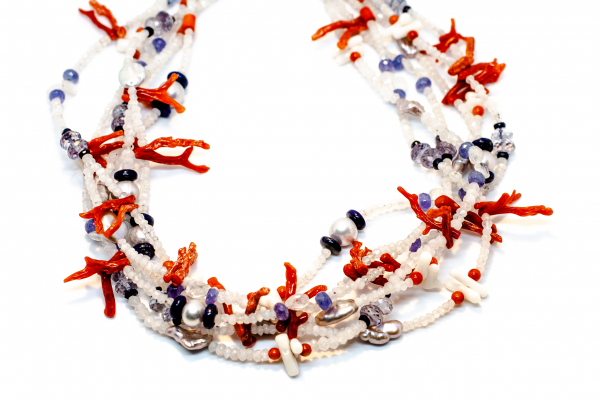 Colier Unicat din Coral, Piatra Lunii, Perla, Lapis Lazuli si Tanzanit 6
