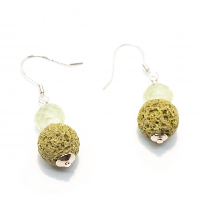 Cercei Creatie cu Coral Spongios,Ametst Verde si Argint [0]