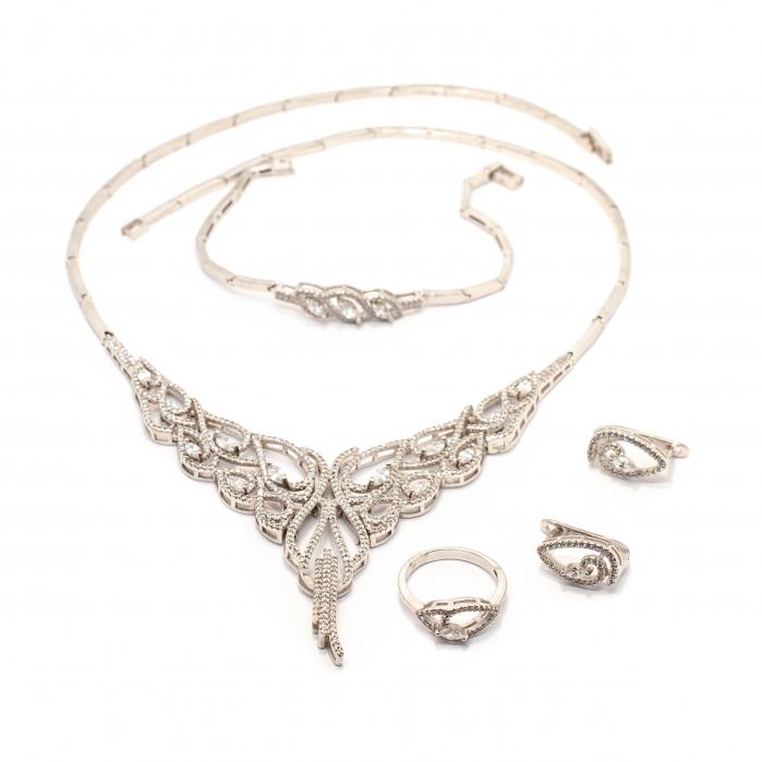Set Lant, Bratara, Cercei si Inel cu Zirconii din Argint [0]