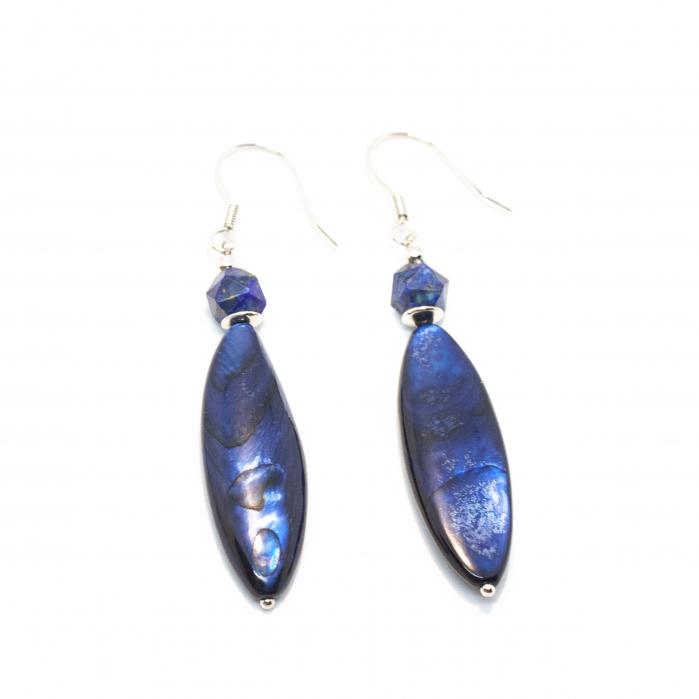 Cercei Creatie cu Sidef,Lapis Lazuli si Argint [0]
