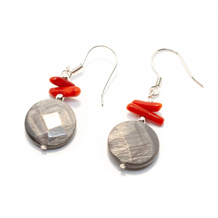 Cercei Creatie cu Sidef,Coral Crengute Rosu si Argint [0]