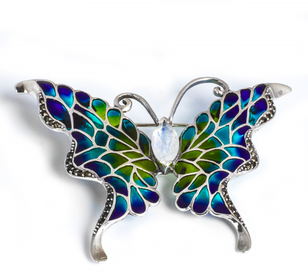 Broșă din Argint Fluture cu Email, Marcasite și Piatra Lunii 0
