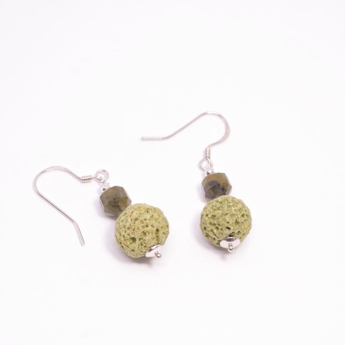 Cercei Creatie cu Coral Spongios,Labradorit si Argint [1]