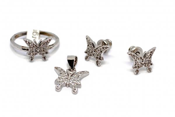 Set Cercei, Pandantiv si Inel din Argint si Zirconii [0]