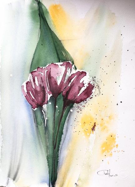 Lucrare Originala in Acuarela Black Club Tulips 0