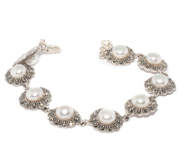 Bratara din Argint cu Marcasite si Perla 0