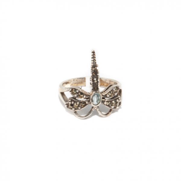 Inel din Argint Libelulă cu Marcasite si Rubin [0]