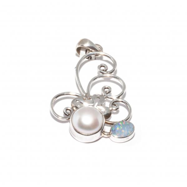 Pandantiv din Argint cu Perlă si Opal 0