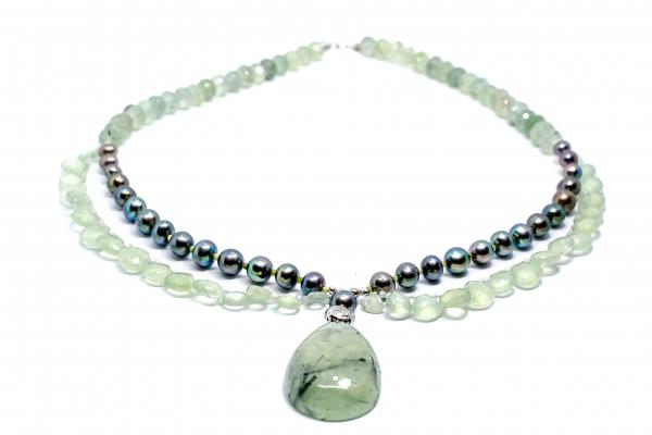 Colier Creatie cu Prehnit,Perla de Cultura si Argint [2]